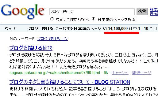 「ブログ 続ける」で1400万件ヒットする