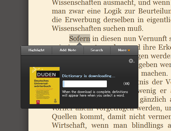 Kindle for PC上のDUDEN独独辞典
