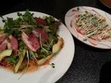 金の鶏の鴨サラダ&サーモンのカルパッチョ