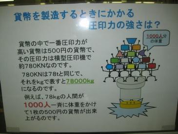 圧印力は500円玉が一番