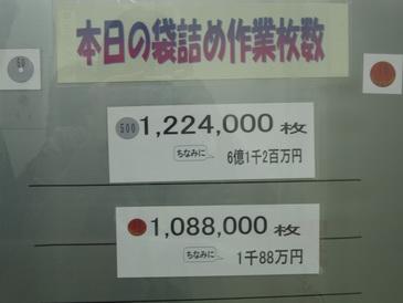 大阪造幣局本日の袋詰め額