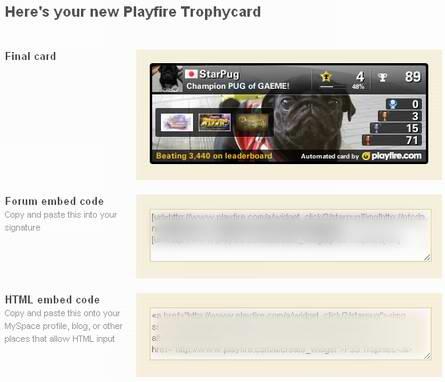 Playfire.comでトロフィーカード作成:完成画面