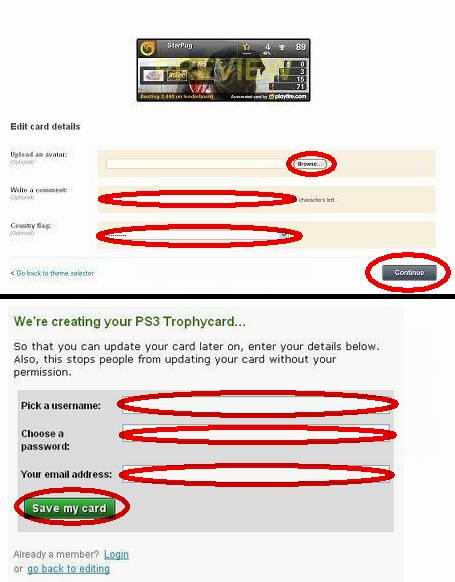 Playfire.comでトロフィーカード作成:追加情報とアカウント情報