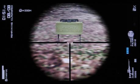 クレイモア地雷をスコープでズームアップ、表