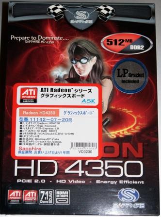SAPPHIRE HD4350 512M DDR2 PCI-E HDMI DVI-I VGA 11142-07-20Rの外箱