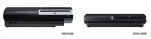 新型薄型と旧型PS3の比較、正面から