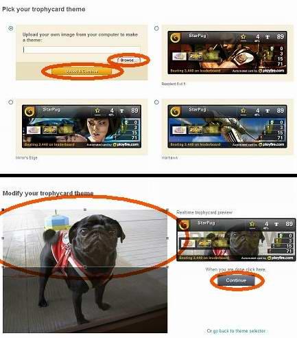 Playfire.comでトロフィーカード作成:テーマと画像選択