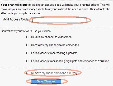 justin.tvのチャンネルにパスワードを設定する