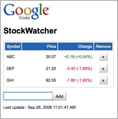 StockWatcherの画面イメージ