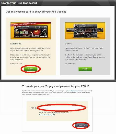 Playfire.comでトロフィーカード作成:PSN-IDの入力